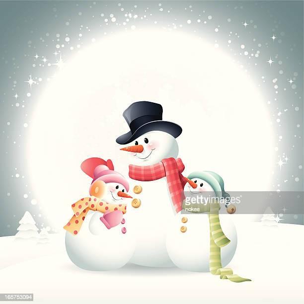 snowman - family - snowman stock illustrations