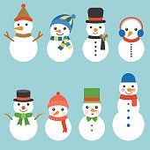 Snowman greeting collection illustration vector for Christmas