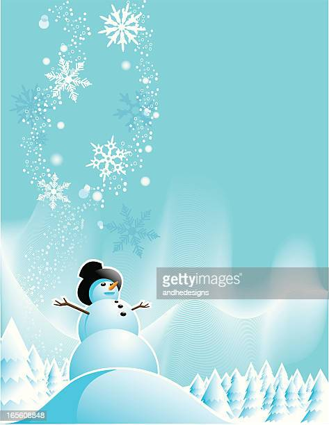 snowman holiday greeting - aurora borealis stock illustrations