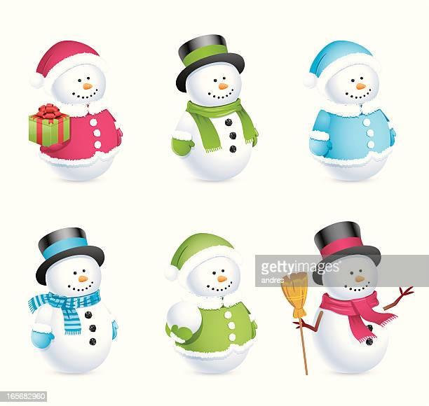snowman icons - snowman stock illustrations