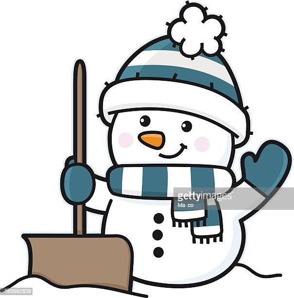 snowman in winter with snow shovel / snowplow - winterdienst stock illustrations