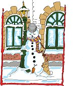 snowman leaning against a lamppost with a rabbit