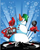 snowman on the disco