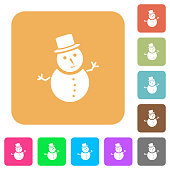 Snowman rounded square flat icons
