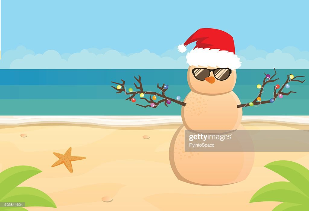 Snowman Santa Claus on a sandy tropical beach