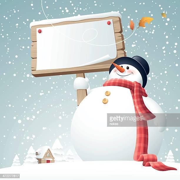 snowman - sign - snowman stock illustrations