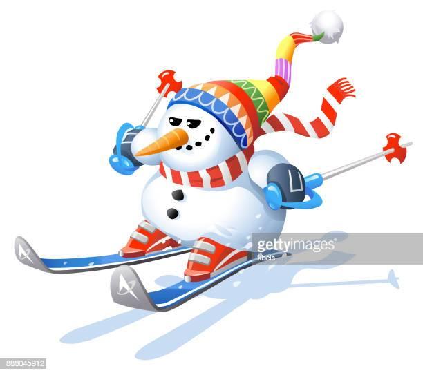illustrations, cliparts, dessins animés et icônes de bonhomme de neige ski - ski humour