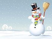 Snowman Standing In A Meadow