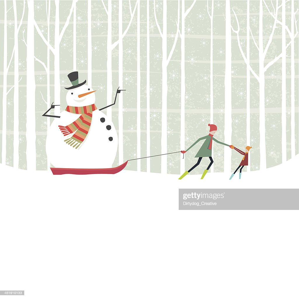 Snowman taking a ride on a sledge through the woods