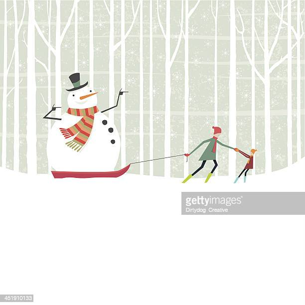 snowman taking a ride on a sledge through the woods - tobogganing stock illustrations, clip art, cartoons, & icons
