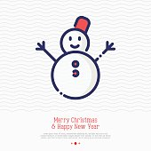 Snowman thin line icon. Symbol of winter, Christmas and New Year vector illustration.
