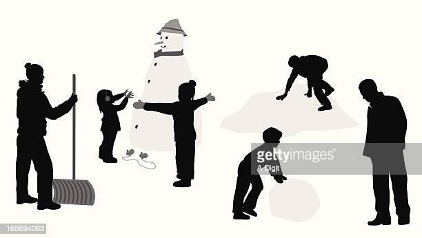 snowman  vector silhouette - snow shovel stock illustrations