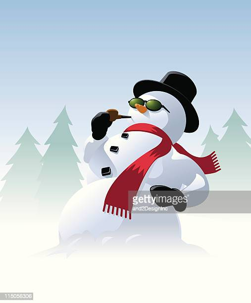 snowman with sunglasses - pipe smoking pipe stock illustrations, clip art, cartoons, & icons