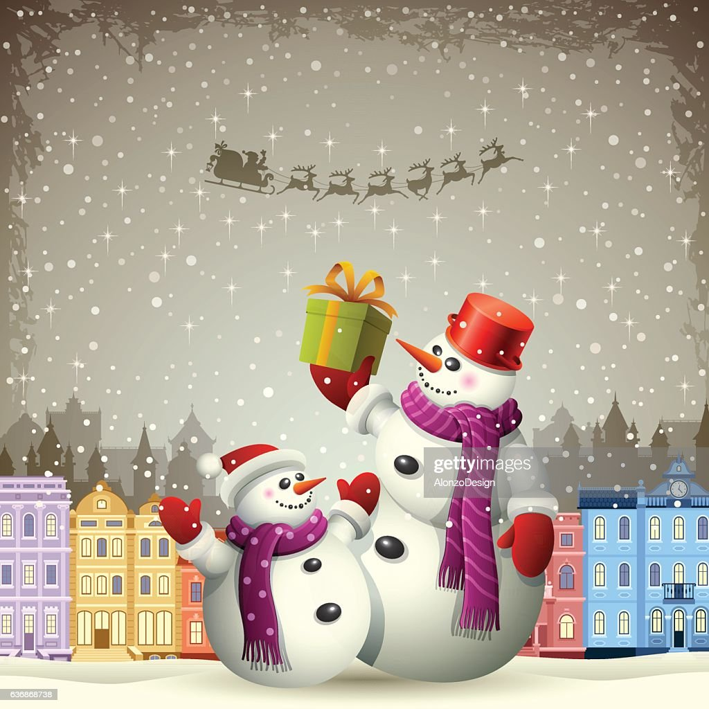 Snowmen Christmas Greeting Card Vector Art Getty Images