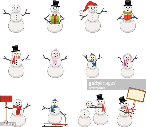 snowmen icons - winterdienst stock illustrations