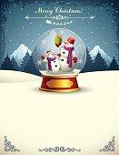 Snowmen in a snow globe