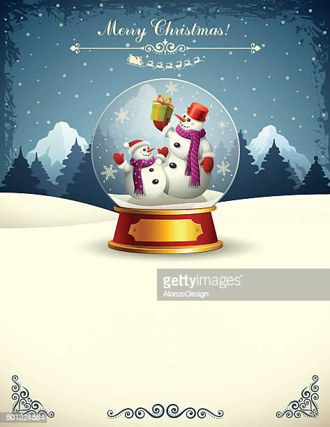 snowmen in a snow globe - snowman stock illustrations