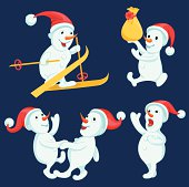 Snowmen in different actions cartoon set