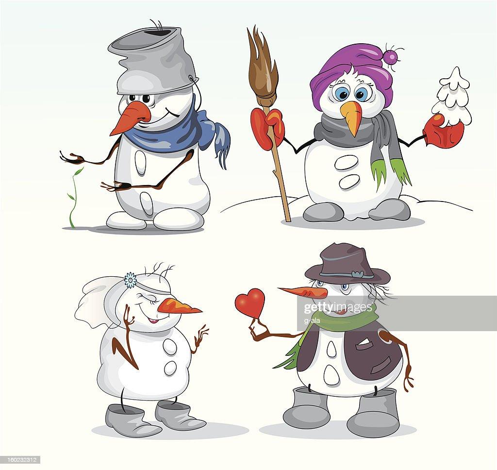 snowmen in winter