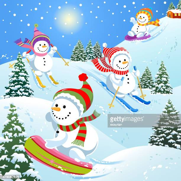 snowmen skiing, sledding and snowboarding - tobogganing stock illustrations, clip art, cartoons, & icons