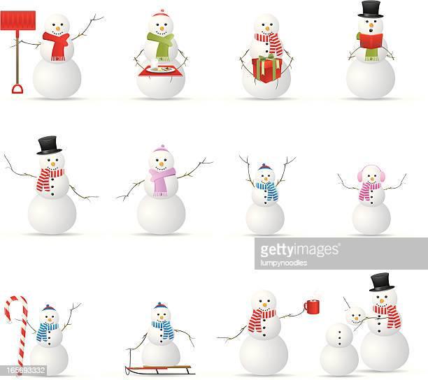 snowmen! - snowman stock illustrations