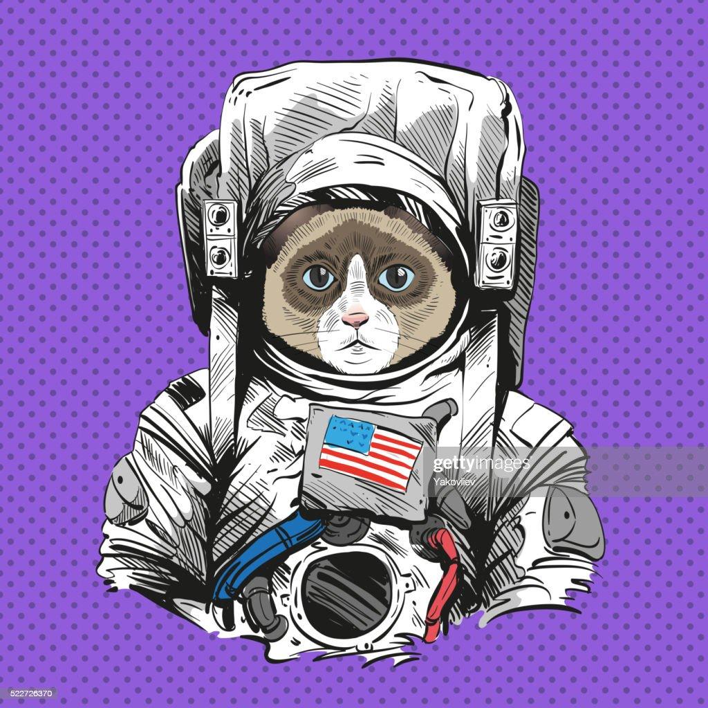 Snowshoe cat in astronaut suit. Hand drawn vector illustration : Vector Art
