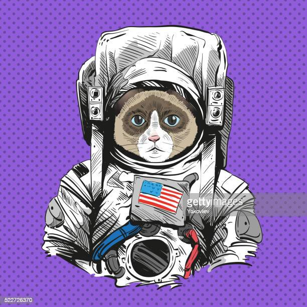 Andar de Raquetas de Neve gato em Astronauta terno. Desenhado à mão Ilustração vetorial