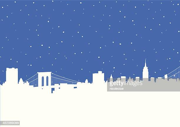 nyc snowstorm - brooklyn bridge stock illustrations, clip art, cartoons, & icons