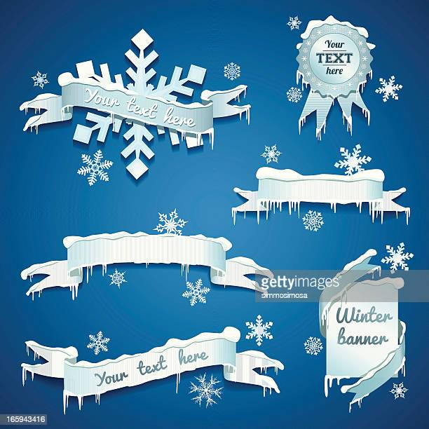snow/winter banners - icicle stock illustrations