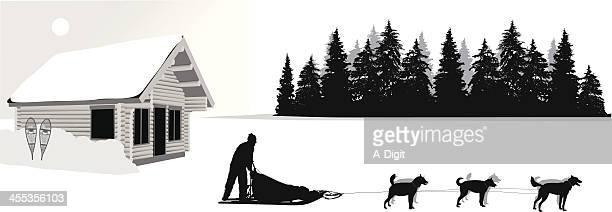 snowyadventures - 犬ぞりに乗る点のイラスト素材/クリップアート素材/マンガ素材/アイコン素材