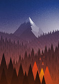 Snowy big mountain and forest fire.