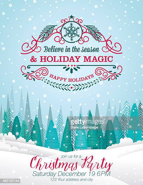 snowy christmas card with forest and holiday a seasonal decoration - blizzard stock illustrations
