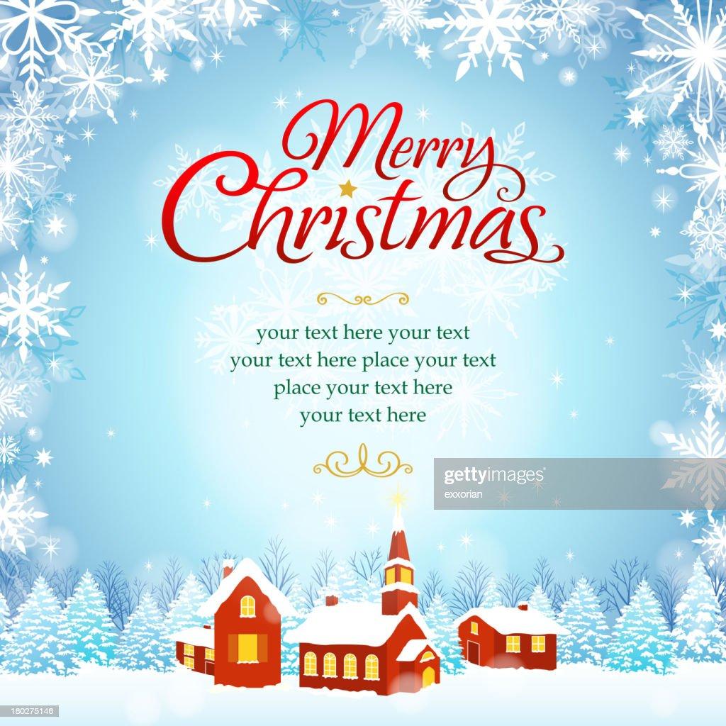 Snowy Christmas Greeting Card Template With Custom Text Area Vector