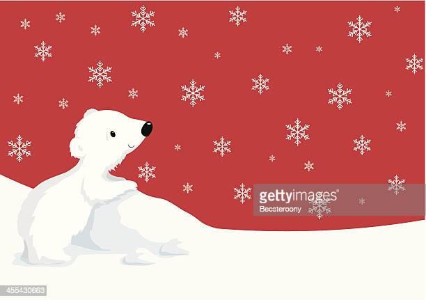 snowy christmas - bear cub stock illustrations