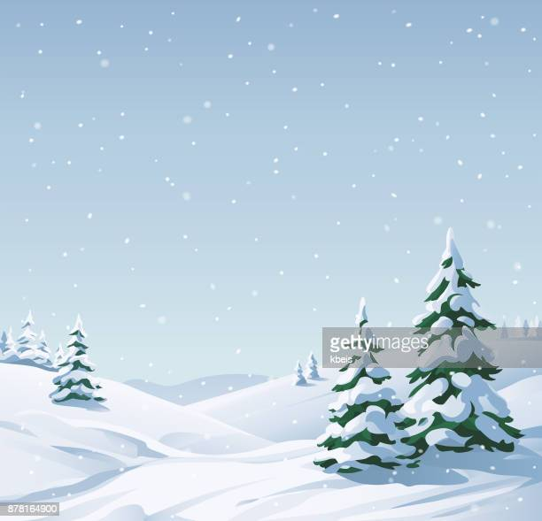 snowy landscape - setting stock illustrations