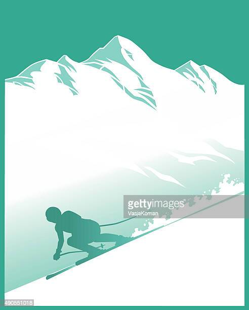 Snowy Mountain With Alpine Skier - Silhouette