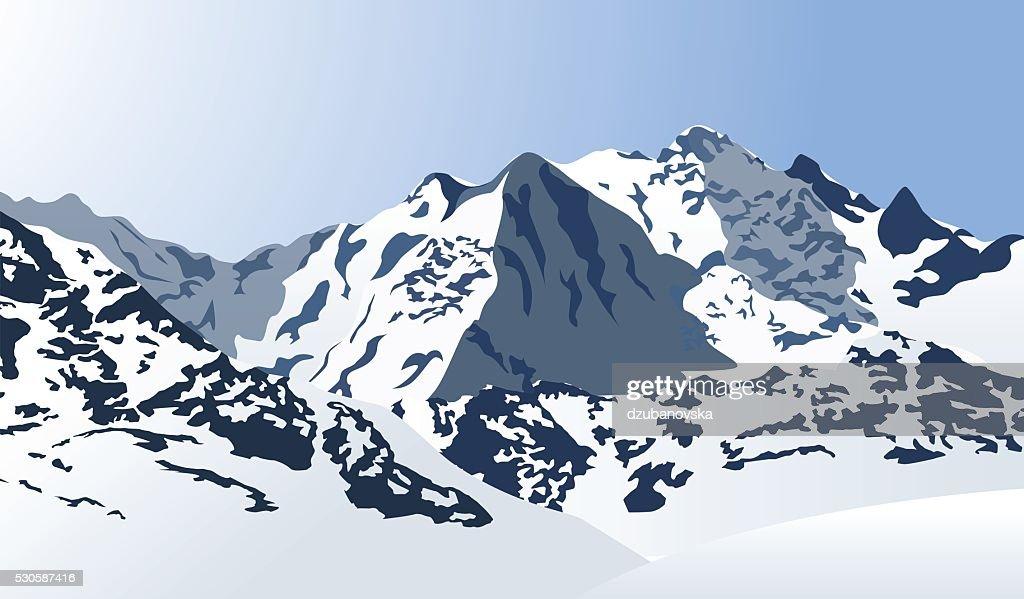 Snowy mountains landscape. Vector illustration.