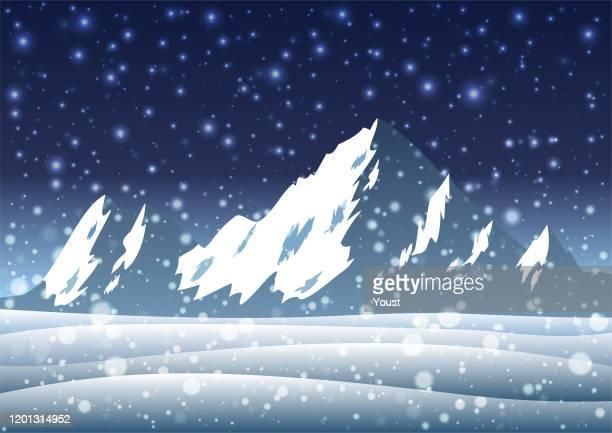 雪山、ボケ効果のある冬の風景 - 岩点のイラスト素材/クリップアート素材/マンガ素材/アイコン素材