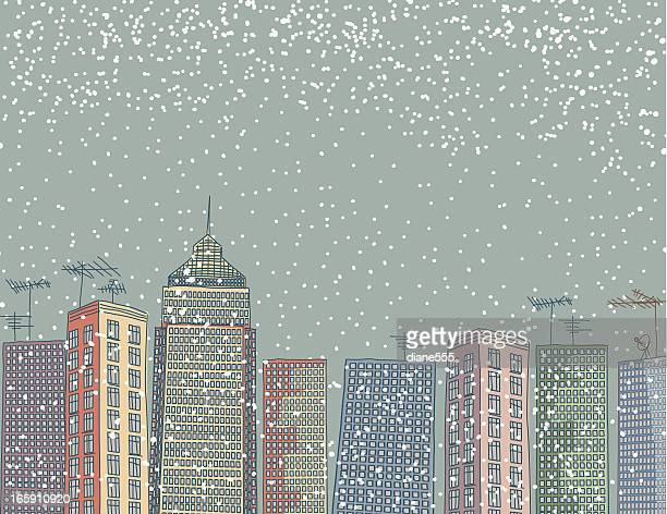 snowy night in the city - blizzard stock illustrations