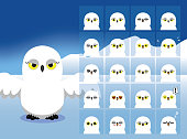 Snowy Owl Cartoon Emotion faces Vector Illustration