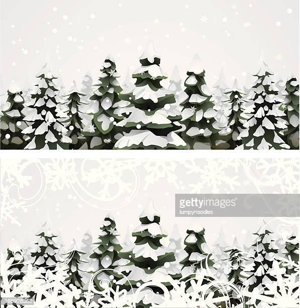 snowy pine landscape - grove stock illustrations, clip art, cartoons, & icons