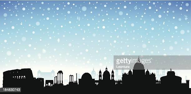 snowy rome - castel sant'angelo stock illustrations