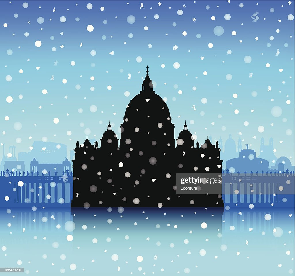 Snowy Saint Peter's Basilica, The Vatican : stock illustration