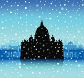 Snowy Saint Peter's Basilica, The Vatican