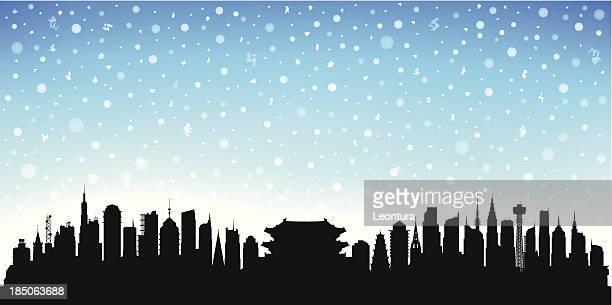 snowy seoul - seoul stock illustrations, clip art, cartoons, & icons