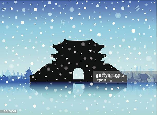 snowy sungnyemun (namdaemun gate), korea (buildings are moveable and complete) - namdaemun gate stock illustrations, clip art, cartoons, & icons