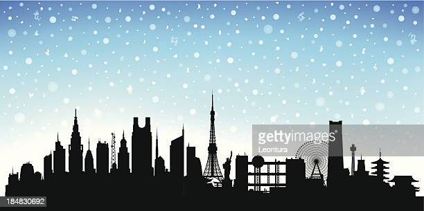 snowy tokyo - tokyo japan stock illustrations, clip art, cartoons, & icons