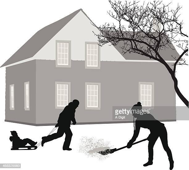 snowy vector silhouette - snow shovel stock illustrations