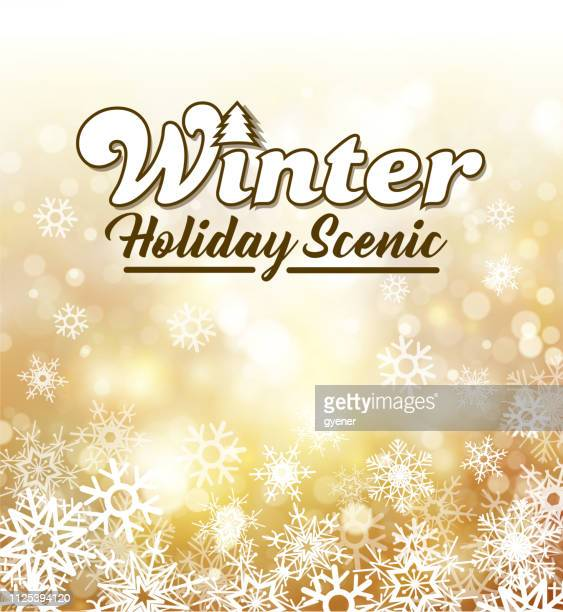 snowy winter holiday sign - winter sports event stock illustrations