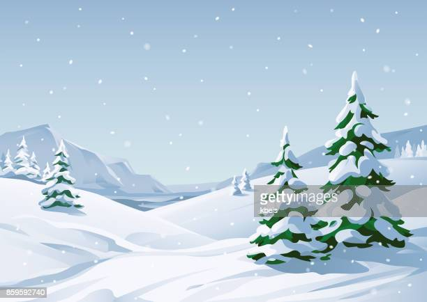 verschneite winter landschaft - illustration stock-grafiken, -clipart, -cartoons und -symbole